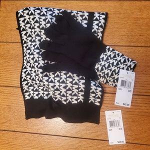 Michael Kors | Black & White Logo Scarf & Gloves